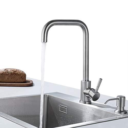 CECIPA Grifo de Cocina Cepillado Mezclador de Cocina Giratorio 360 ° Grifos para Fregadero Flexible en Acero Inoxidable 304 Resistente a la Corrosión