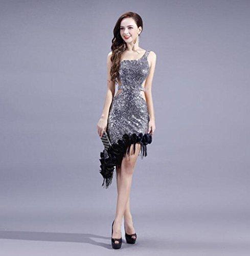 FGDJTYYJ Schulter ausgesetzt Pailletten unregelmäßigen schrägen Perlen High-End Latin Fransen Tanzkleid servieren Frauen Latin Dance Rock, XXL