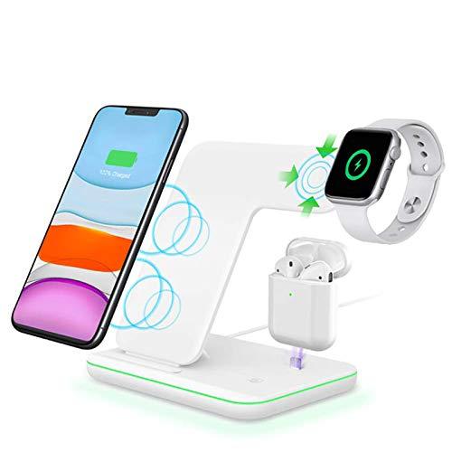 Cargador Inalámbrico, Base Carga Máxima 15 W Compatible con El Soporte Cargador Inalámbrico Rápido Apple Estación Carga Rápida QI 3 en 1 para Apple Watch Series 6 / SE / 5/4/3/2 Fast Wireless,White