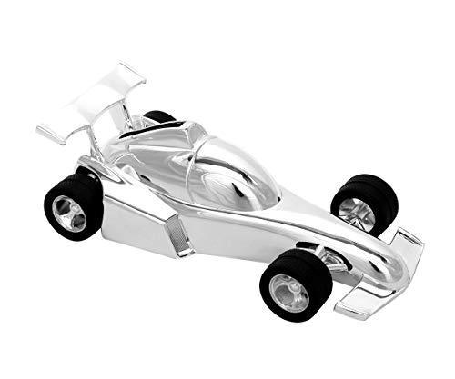Brillibum Design racewagen spaarvarken verzilverd beschermd geld cadeau voor jongens zilver kinderspaarpot gepersonaliseerd