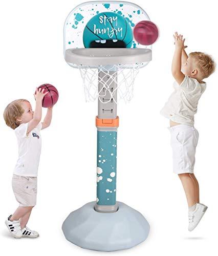Birtech Basketballständer Kinder Basketballkorb mit Ständer Höhenverstellbar für Jungen Mädchen,Blau