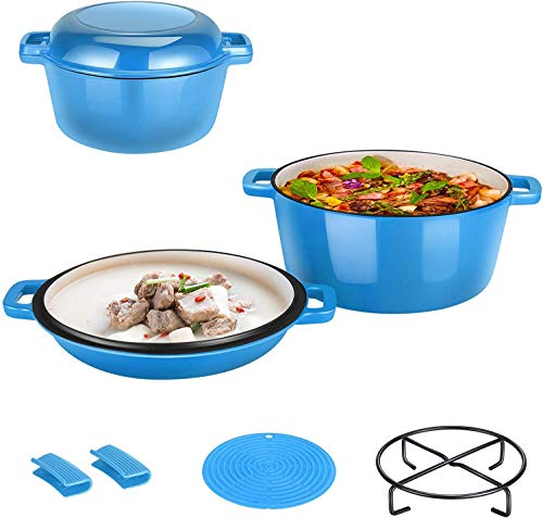 BITOWAT Enameled Cast Iron 2-In-1 Skillet Set, Heavy Duty 7.6 Quart Enamel Cookware Pot and Lid Set, Deep Saucepan and Shallow Skillet Dutch Oven Nonstick Frying Pan for Chef Kitchen (Blue)