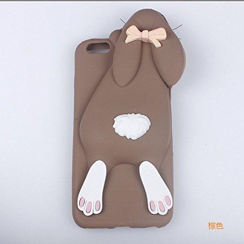 iNenk Cover Per iPhone 5/5s reg; morbido cassa TPU Bunny coperture del telefono coniglio carino cartone animato animale imposta manicotto protettivo per la ragazza-Marrone