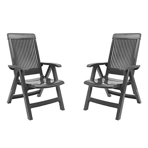 GROSFILLEX Lot de Deux fauteuils Fidji avec Dossier réglable Anthracite