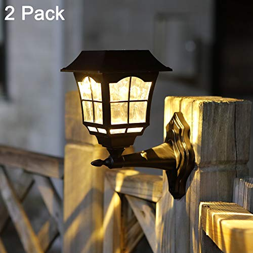 Maggift 15 Lumens Solar Wall Lantern Outdoor Christmas Solar Lights Wall Sconce Solar Outdoor Led Light Fixture with Wall Mount Kit (2 Pack)