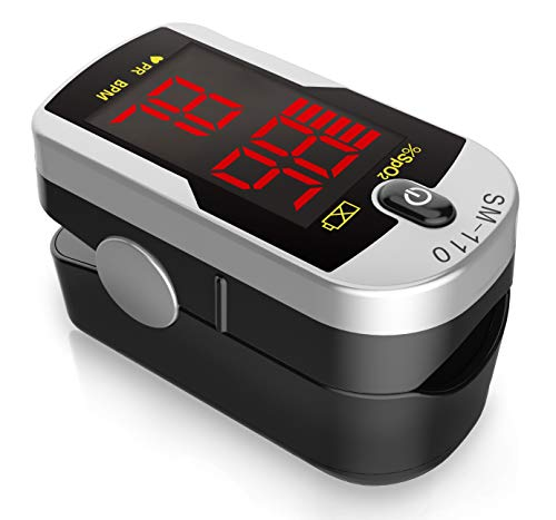 Deluxe SM-110 Two Way Display Finger Pulse Oximeter with Carry Case & Neck/Wrist...
