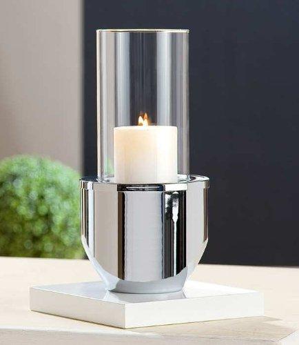2-delig. Verchroomd kaarsen-windlicht