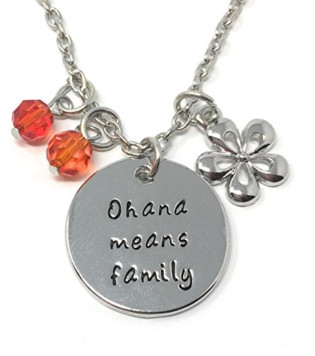 Silver-Tone 'Ohana Means Family' Engraved Pendant Necklace 2.5cm Diamater with 18 Inch Chain Lilo and Stitch