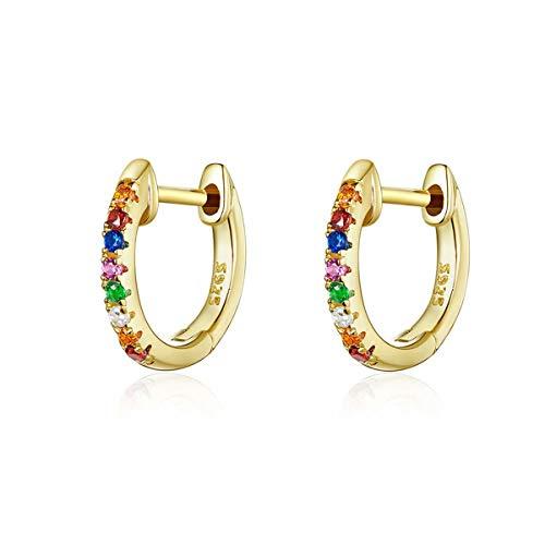 Qings Orecchini placcato oro a cerchio Huggie in argento sterling 925 intarsiati colorati delicati zirconi cubici Orecchini per donne ragazze