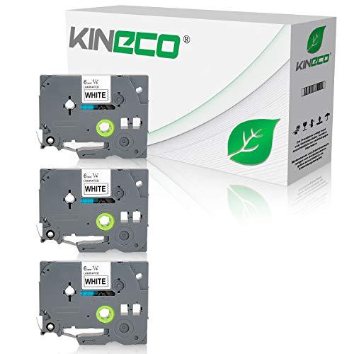 Kineco 3 Schriftbänder kompatibel für Brother TZE-211 6mm/8m - Schwarz auf Weiß P-Touch 1000 1010 1080 1090 1200 1200P 1230PC 1250 1280 1290 1750 1800 1850 200 220 2400 2450 2460 2470 2480 300 310