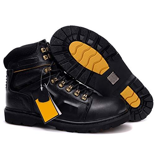 Zapatos de Seguridad Zapatillas de Trabajo para Hombre, Botas de Trabajo de caña Alta de Piel de Vaca de Tipo Duro, Botas Militares Martin antigolpes, Zapatos de Seguro Laboral,A,41