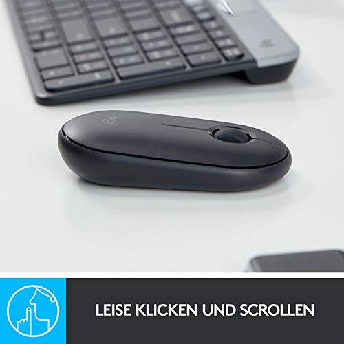 Logitech M350 Pebble Kabellose Maus, Bluetooth und 2.4 GHz Verbindung via Nano USB-Empfänger, 18-Monate Akkulaufzeit, 3 Tasten, Leises Klicken und Scrollen, PC/Mac/iPadOS – Grafit/Schwarz - 3