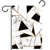 ホームガーデンフラッグ両面春夏庭屋外装飾 12x18inch,黒と白の大理石模様