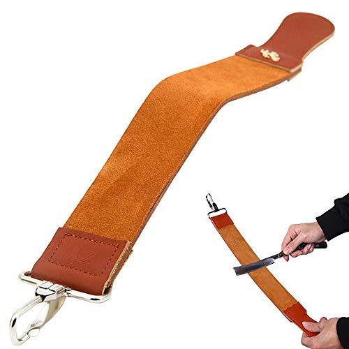 BingQing Band für Rasiermesser, gerade Streichgürtel aus echtem Leder mit Schärfpolitur für Messer gerade...