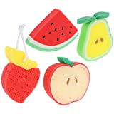 TOYANDONA 4 Piezas de Esponja de Baño de Frutas Esponja de Baño de Frutas Bola de Ducha de Dibujos Animados Esponja de Frutas Flor de Baño Bonita para Niños