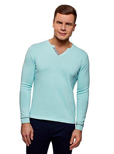oodji Ultra Hombre Jersey Básico con Cierre Decorativo, Turquesa, ES 56 / XL