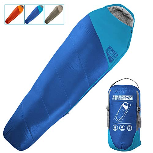 WINNER OUTFITTERS Mummy Sleeping Bag with Compression Sack, It's Portable and Lightweight for 3-4 Season Camping, Hiking, Traveling, Backpacking and Outdoor