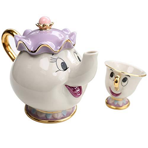 Juegos de té Taza De Tetera De La Bella Y La Bestia De Dibujos Animados, Taza De Tetera Con Chip De La Sra. Potts, Un Juego De Regalo De Navidad Encantador