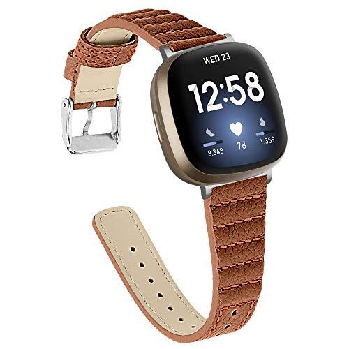 Gimart UK Lederarmband Kompatibel mit Fitbit Versa 3 Armband, Slim Echtes Leder Ersatz Uhrenarmband Band Armband Zubehör Armband für Fitbit Sense/Versa 3 Smartwatch (Braun)