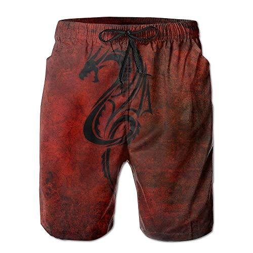 Dragon Red Black Männer/Jungen Casual Shorts Badehose Badebekleidung Elastische Taille Strandhose Mit Taschen,XL