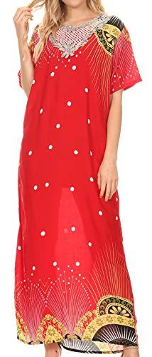 Sakkas 18211 - Vestido Largo con Cuello en V de Kaftan y túnica con Cuello en V para Mujer Sabra - 1918-Rojo - L