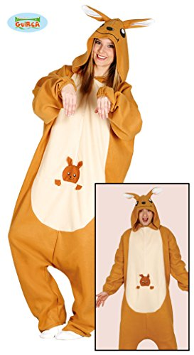 Guirca Känguru Pyjama Kostüm für Erwachsene Overall Tierkostüm Australien Jumpsuit M - L, Größe:L