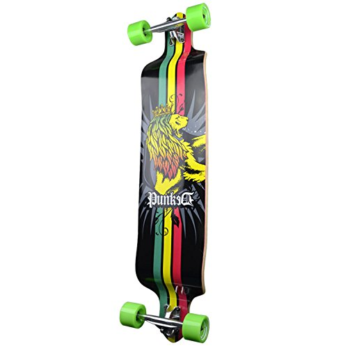 Yocaher Professinal Speed Drop Down Complete Longboard Skateboard Rasta