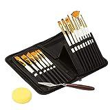 Set di pennelli artistici - 15 diverse forme e dimensioni di pennelli per acrilico, olio, acquarello, body painting creativo, decorazione e pittura a guazzo