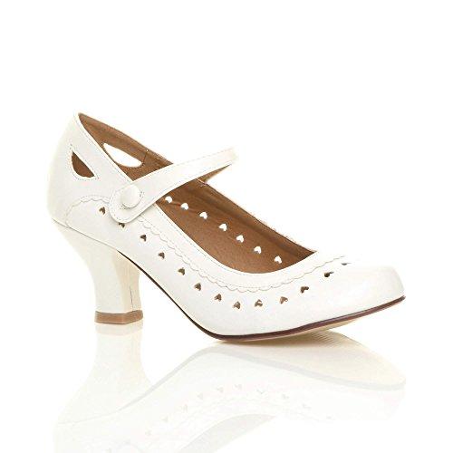Damen Herzmuster Mary Jane Mittlerer Absatz Feinmachen Pumps Schuhe Größe 42 9