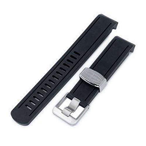 Cinturino in caucciù 20mm Crafter Blue - Cinturino in caucciù curvo in gomma nera per Seiko Sumo SBDC001