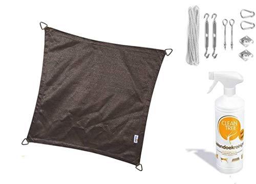 Nesling Compleet Pakket Coolfit Sonnensegel, wasserfest, dreieckig, 3,6 x 3,6 cm, Braun, Anthrazit mit RVS Bevestigingsset aus Buitendoekreiniger