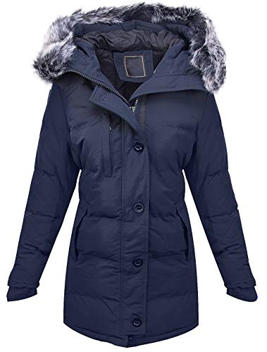 Rock Creek Warme Damen Winter Jacke Parka Steppjacke Winterjacke Mantel Gesteppt Damenjacken Outdoor Jacken gefüttert Kurzmantel D-407 Navy XXXL