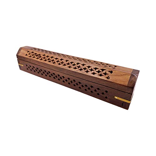 Carved Net Design - Wooden Coffin Incense Burner for Incense Sticks and Cones, with Storage Compartment