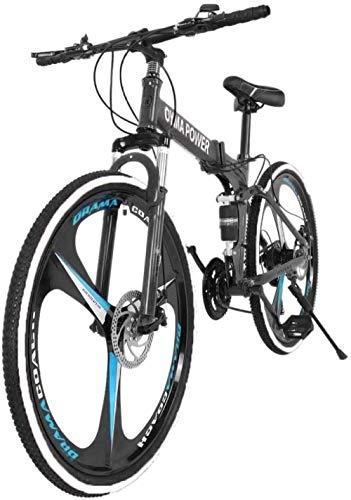 Bicicleta de montaña plegable de 26 pulgadas Shimanos Bicicleta de 21 velocidades con suspensión completa Bicicletas MTB Bicicletas cómodas Bicicleta de crucero de playa Freno de disco doble-Azul