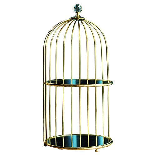 Mirrorred Glass Birdcage Bathroom Tray Large Vanity Tray, Double Jewelry Tray, Two-Tiered Perfume Tray, Daily Necklace Holder,Jewelry Tree Stand, Dessert Cupcake Stand in Gold (Gold, 2Layer)