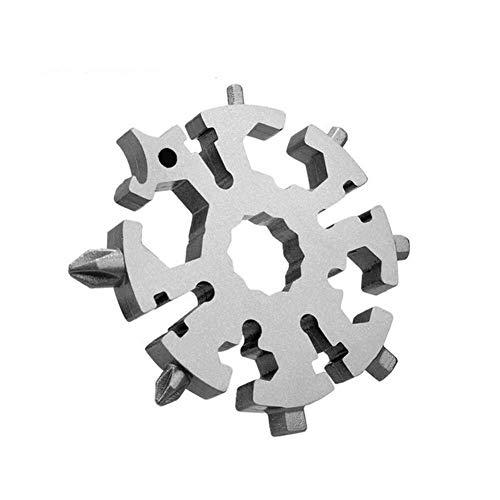 HGOB Multi-Werkzeug Schneeflocke-Karte Ring Flaschenöffner Ringschlüssel Sechskantschlüssel Kampierende Überlebens-Taschen-Werkzeug Unisex Adult Edelstahl-Werkzeuge for Outdoor (Farbe: Silber)