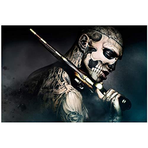chtshjdtb Film 47 Ronin Zombie Boy Muskete Schädel Tattoo Poster Leinwanddrucke Wandkunst für Wohnzimmer Dekor -24x32 Zoll No Frame 1 PCS