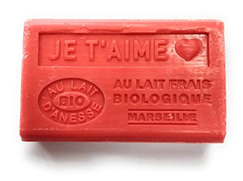 SAVON AU LAIT D'ANESSE BIO - MESSAGE JE T'AIME - SAVON DE MARSEILLE DE 125 G - INSCRIPTION EN RELIEF - PRODUCTION FRANCAISE