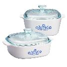 CorningWare® Stovetop™ Pyroceram® Blue Cornflower 4-pc Casserole Set - Corelle