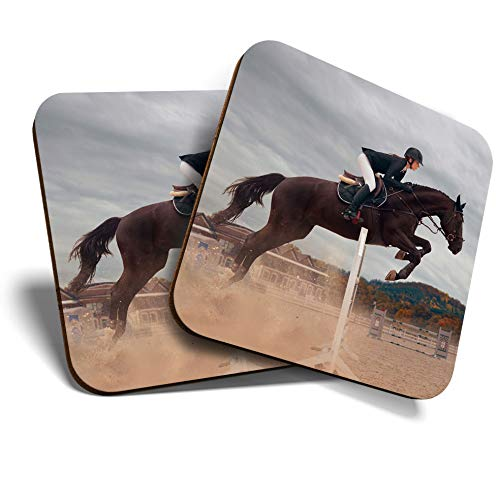 Great Coasters Set of 2 SquareGlossy Quality CoastersTabletop Protection for Any Table Type - Fun Equestrian Horse Jumping 3259