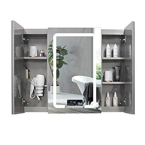 Cuarto de baño montado Gabinete de Pared LED Medicina Light CABINETE, Medicina MONEDAD MONEDAD Gabinete, gabinete de Colgante de Pared Multiusos para baño (Color: Plata, Tamaño: 120x80x13cm) leilims