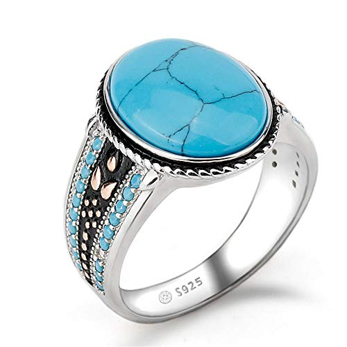 RKWEI Anillos Anillo De Turquesa. Anillo De Piedra Azul Oval. Joyas De Plata Esterlina.