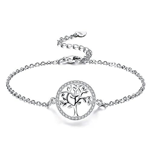 Bo&Pao Pulsera de plata de ley 925 con árbol de la vida para mujer