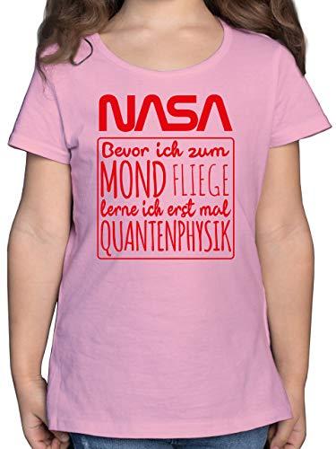 Einschulung und Schulanfang - NASA Bevor ich zum Mond Fliege rot - 140 (9/11 Jahre) - Rosa - t Shirt NASA - F131K - Mädchen Kinder T-Shirt