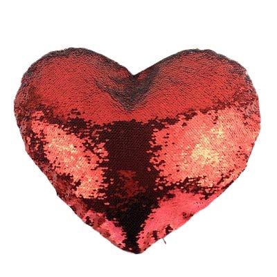 ML cojin Peluche de Lentejuelas de Formas de Corazon Color Rojo 35cm Largo, para Decorar tu habitación Cama Sofa