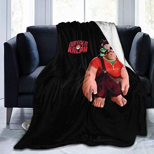Shichangwei Manta de forro polar suave y cálida para sofá cama, divertida de Wreck It Ralph, súper suave, cálida, acogedora manta de búfalo