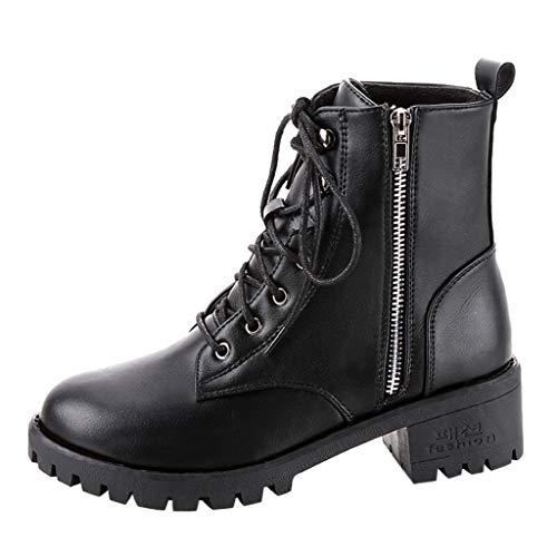 Alecony Botas Militares para Mujer Moda Invierno Zapatos Antideslizante Impermeable Lace-Up Boots Botines Botas de Nieve para Mujer