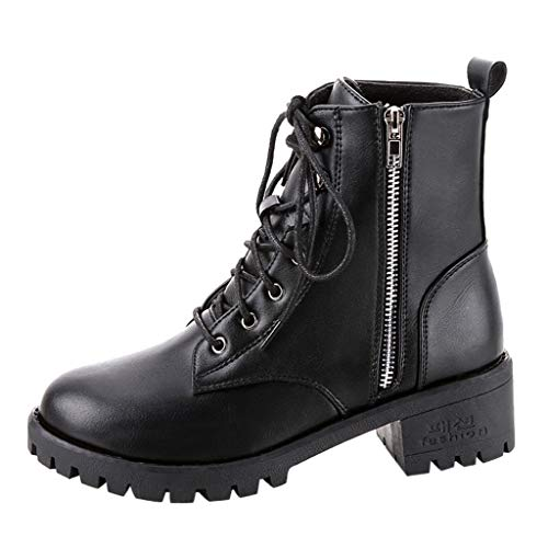 MEIbax Moda Zapatos Invierno Botas de Nieve Mujer Militares de Unisex Adulto Cuero Impermeables Botines Forradas Calientes Combate con Punta Redonda Botine Plano con Ocio Cordones