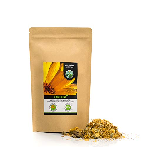 Flores de calendula (125g), te de calendula, flores enteras, calendula de naranja, suavemente seca, 100% pura y natural para la preparacion de te, te de hierbas, flores comestibles