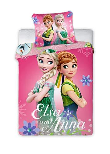 Disney Frozen - Juego de cama para bebé (funda nórdica de 100 x 135 cm y funda de almohada de 40 x 60 cm)
